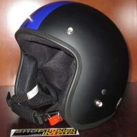 Mũ bảo hiểm 3/4 Dammtrax (đen nhám sọc xanh dương)