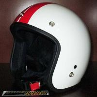 Mũ bảo hiểm dammtrax (trắng bóng sọc đỏ)
