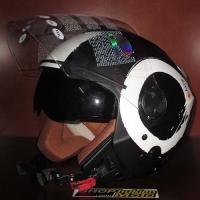 Mũ bảo hiểm 3/4 2 kính Bulldog Arty trắng đen nhám (size: M/ L/ XL)