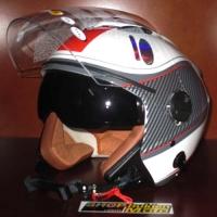 Mũ bảo hiểm 3/4 2 kính Bulldog trắng đỏ xám bóng (size: M/ L/ XL)