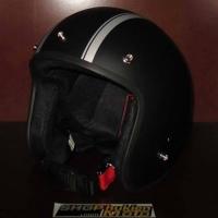 Mũ bảo hiểm 3/4 Dammtrax (đen nhám 2 sọc bạc nhỏ)