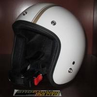 Mũ bảo hiểm 3/4 Dammtrax (Trắng bóng 2 sọc đồng nhỏ)