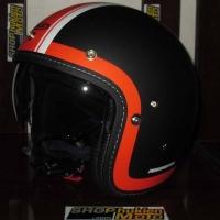 Mũ cafe racer 3/4 HJC FG 70s (Đen Cam Trắng) (size: L/ XL)