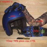 Gói COMBO 2: (Gồm: Mũ 3/4 DAMMTRAX Thái + Găng tay Monster + Găng tay hình xâm)