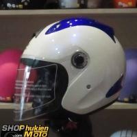 Mũ 3/4 ROYAL (Trắng xanh bóng) (Size: L)