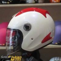 Mũ 3/4 ROYAL (Trắng đỏ bóng) (Size: L)