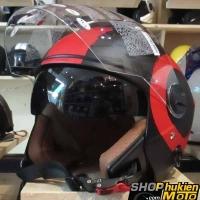 Mũ bảo hiểm 3/4 2 kính Bulldog (Đen sọc đỏ nhám) (size: L/ XL)
