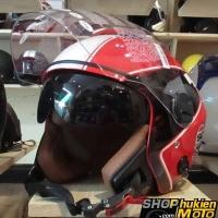 Mũ bảo hiểm 3/4 2 kính Bulldog (Đỏ sọc trắng bóng) (size: L/ XL)