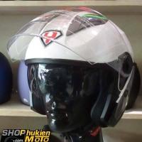Mũ 3/4 YOHE 2 kính 868 (Trắng xám bóng viền xanh lá) (Size: M/ L/ XL)