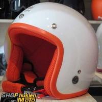 Mũ bảo hiểm 3/4 ROYAL M20 (Màu trắng bóng viền cam) (Size M/ L)