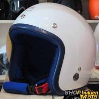 Mũ bảo hiểm 3/4 ROYAL M20 (Màu trắng bóng viền xanh đậm) (Size M/ L)