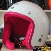 Mũ bảo hiểm 3/4 ROYAL M20 (Trắng bóng viền hồng) (Size M/ L)
