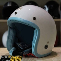 Mũ bảo hiểm 3/4 ROYAL M20 (Trắng bóng viền xanh nhạt) (Size M/ L)