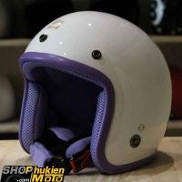 Mũ bảo hiểm 3/4 ROYAL M20 (Trắng bóng viền tím) (Size M/ L)