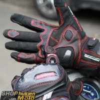 Găng tay Komine GK-160 (đen/đỏ) (size: L/XL)