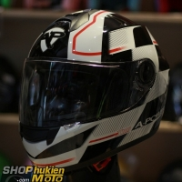 Mũ bảo hiểm fullface Yohe 962 (X100) (đen trắng bóng sọc đỏ) (Size: S/M/L)