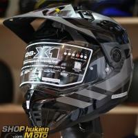 Mũ bảo hiểm Off Road- cào cào HJC DS-X1 (Đen bóng viền xám) (Size: M/L/XL/XXL)