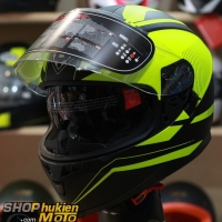 Mũ bảo hiểm Fullface YOHE 967 2 kính (vàng/ đen nhám) (Size: S/M/L/XL)