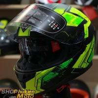 Mũ bảo hiểm Fullface YOHE 967 2 kính (vàng xanh/ đen nhám) (Size: S/M/L/XL)