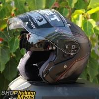 Mũ bảo hiểm 3/4 HJC FG JET (Đen xám nhám viền đỏ) (Size: M/L/XL)