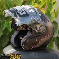 Mũ bảo hiểm 3/4 HJC FG JET (Đen xám nhám viền hồng) (Size: M/L/XL)