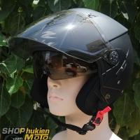 Mũ bảo hiểm 3/4 Zeus 205 (đen nhám) (Size: S/M/L/XL/XXL)