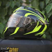 Mũ bảo hiểm Fullface YOHE 967 2 kính (2018) (vàng/ đen bóng) (Size: M/L/XL)