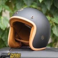 Mũ bảo hiểm 3/4 ROYAL M20B (Đen nhám lót nâu)