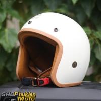Mũ bảo hiểm 3/4 ROYAL M20 Trắng bóng lót nâu)
