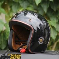 Mũ bảo hiểm 3/4 ROYAL M20C Vintage (đen bóng)