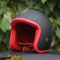 Mũ bảo hiểm 3/4 ROYAL M20 (Đen nhám viền đỏ)