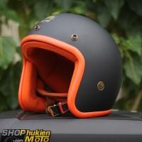 Mũ bảo hiểm 3/4 ROYAL M20B (Đen nhám lót cam)