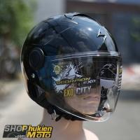Mũ bảo hiểm 3/4 scorpion exo city solid (đen bóng) (Size: M/L/XL)