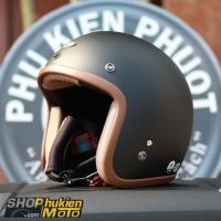 Mũ bảo hiểm 3/4 AVEX Xtreme Thái Lan (Đen nhám viền Nâu)