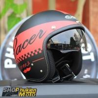 Mũ bảo hiểm 3/4 Sunda 388 (đen nhám đỏ)