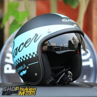 Mũ bảo hiểm 3/4 Sunda 388 (đen nhám xanh ngọc)