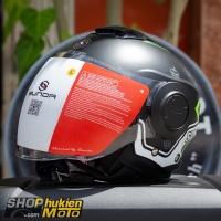 Mũ bảo hiểm 3/4 Sunda 227 (đen nhám sọc trắng xanh lá) (size: L/XL)