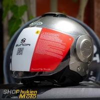 Mũ bảo hiểm 3/4 Sunda 227 (bạc bóng) (size: L/XL)