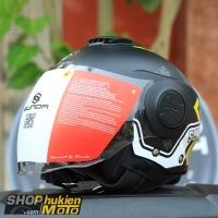 Mũ bảo hiểm 3/4 Sunda 227 (đen nhám sọc trắng vàng) (size: L/XL)