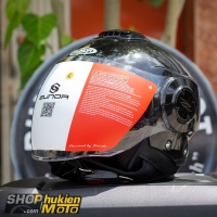Mũ bảo hiểm 3/4 Sunda 227 (đen bóng) (size: L/XL)