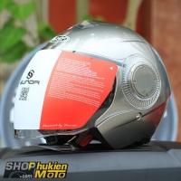 Mũ bảo hiểm 3/4 Sunda 621 (bạc bóng) (size: L/XL)