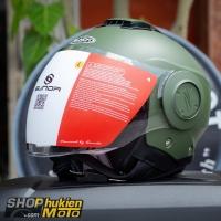 Mũ bảo hiểm 3/4 Sunda 227 (xanh lính nhám) (size: L/XL)