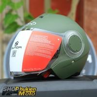 Mũ bảo hiểm 3/4 Sunda 621 (xanh lính nhám) (size: L/XL)
