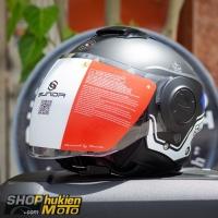 Mũ bảo hiểm 3/4 Sunda 227 (đen nhám sọc trắng xanh dương) (size: L/XL)