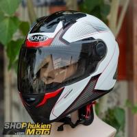 Nón bảo hiểm Sunda 811 (Trắng bóng đen đỏ) (size: L/XL)
