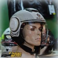 Mũ bảo hiểm 3/4 Sunda 227 (trắng đen bóng) (size: L/XL)