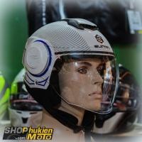 Mũ bảo hiểm 3/4 Sunda 227 (trắng xanh dương bóng) (size: L/XL)