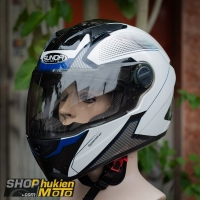 Nón bảo hiểm Sunda 811 (Trắng bóng sọc đen xanh) (size: L/XL)