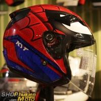 Non 3/4 KYT Spider man (Size: L/XL)