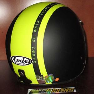Mũ bảo hiểm Andes đen nhám sọc xanh lá